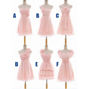 Different Style Pink Chiffon Short Bridesmaid Dresses A Line Prom Dresses