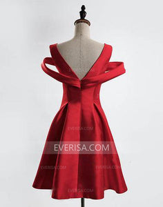 Red V Neck V Back Short Bridesmaid Dresses A Line Homecoming Dresses
