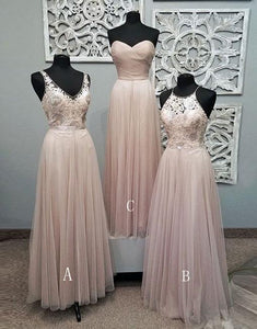 Elegant Light Pink Sweetheart Floor-Length Tulle Bridesmaid Dress Cheap Prom Dresses