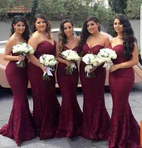 Sexy Maroon Sweetheart Floor-Length Satin Prom dresses Mermaid Bridesmaid Dresses