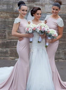 Pink Cap Sleeveless Mermaid Bridesmaid Dresses Affordable Prom Dresses