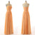 Orange Strapless Backless Ruffles Bridesmaid Dresses Chiffon Prom Dresses