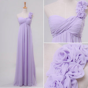 Lilac Sweetheart One Shoulder A Line Prom Dresses Chiffon Evening Dresses With Flower - EVERISA