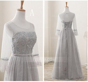 Luxury Gray Scoop Neck Floor-Length Tulle Prom Dress Evening Dress With Lace