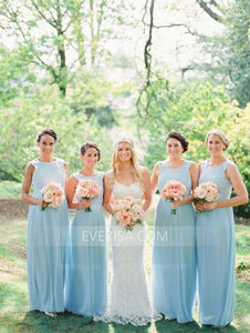 Light Blue Sleeveless Scoop Neck Chiffon Bridal Dresses Cheap Prom Dresses - EVERISA
