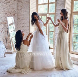 Ivory One Shoulder Sleeveless Chiffon Bridesmaid Dresses Long Prom Dresses - EVERISA