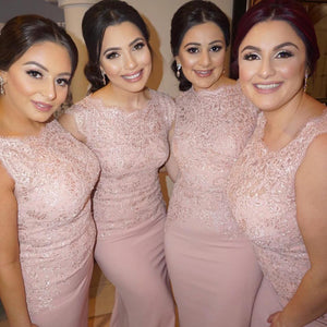 Dusty Pink Sleeveless Mermaid Bridesmaid Dresses Cheap Prom Dresses - EVERISA