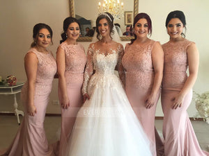 Dusty Pink Sleeveless Mermaid Bridesmaid Dresses Cheap Prom Dresses