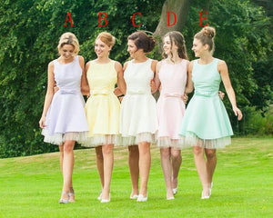 Charming Scoop Neck Sleeveless A Line Prom Dresses Short Bridesmaid Dresses - EVERISA