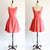 Coral Red Scoop Neck Backless A Line Prom Dresses Short Bridesmaid Dresses With Bow