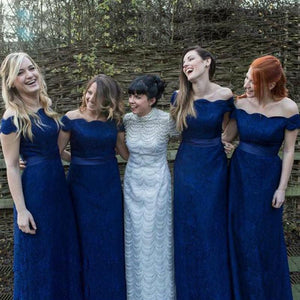 Navy Blue Off Shoulder Lace Bridesmaid Dresses A Line Long Prom Dresses - EVERISA