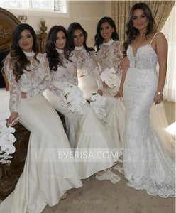Sexy White Long Sleeves Empire Long Satin Bridesmaid Dresses Evening Dress