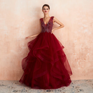 Burgundy V Neck Sleeveless Beaded A Line Tiered Prom Dresses