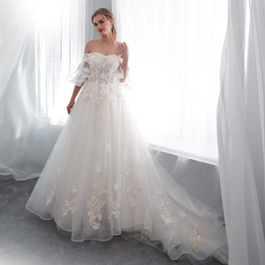 Elegant Off Shoulder Applique Wedding Dresses A Line Bridal Dresses