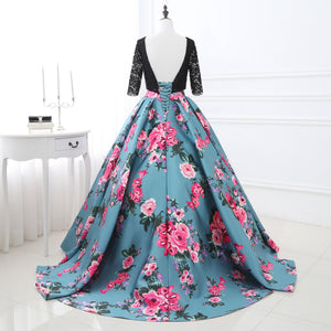 Short Sleeve Backless Lace Prom Dresses A Line Flower Evening Dresses