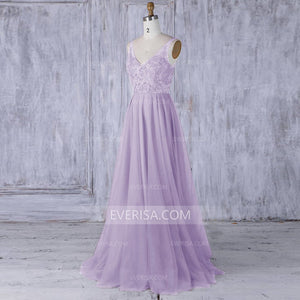 Lilac V Neck Sleeveless Tulle Long Prom Dresses A Line Evening Dresses - EVERISA