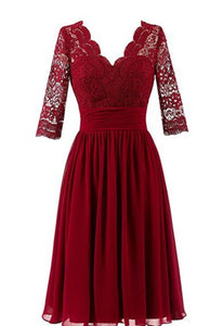 Unique Dark Red V-Neck Chiffon Bridesmaid Dress Short Prom Dresses With Lace