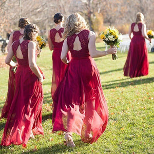 Red V Neck Open Back Long Bridesmaid Dresses Best Prom Dresses With Lace