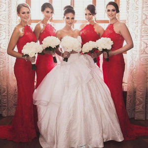 Elegant Red Halter Lace Prom Dresses Slim Line Long Bridesmaid Dresses - EVERISA