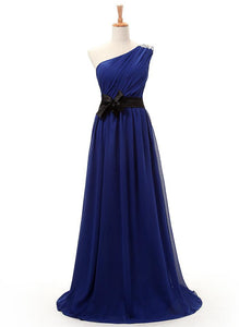 Blue One Shoulder A Line Prom Dresses Sleeveless Cheap Evening Dresses With Sash - EVERISA