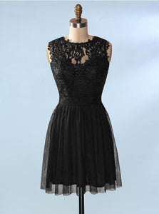 Unique Black Short Homecoming Dresses Backless A Line Cocktail Dresses With Lace