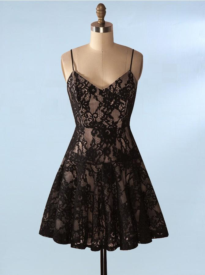 203a1254054 Sexy Black Spaghetti Straps Lace Homecoming Dresses Short Cocktail Dresses  - EVERISA