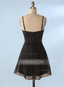 Fashion Spaghetti Straps Short Homecoming Dresses A Line Cocktail Dresses With Lace - EVERISA