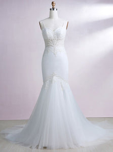 Elegant Mermaid Bridal Gown Sweetheart Sleeveless Cheap Wedding Dresses - EVERISA