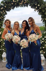 Sexy Royal Blue Sleeveless Mermaid Prom Dresses Cheap Bridesmaid Dresses - EVERISA