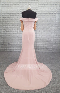 Pink Off Shoulder Mermaid Prom Dresses Cheap Long Evening Dresses With Ruched