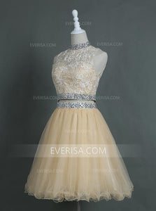 Two Piece High Neck Homecoming Dresses Short Prom Dresses With Rhinestone