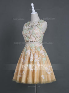 Fashion Two Pieces A Line Homecoming Dresses Lace Prom Dresses With Crystals