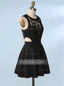 Black Sleeveless Side Cut Out Lace Homecoming Dresses Cheap Cocktail Dresses - EVERISA