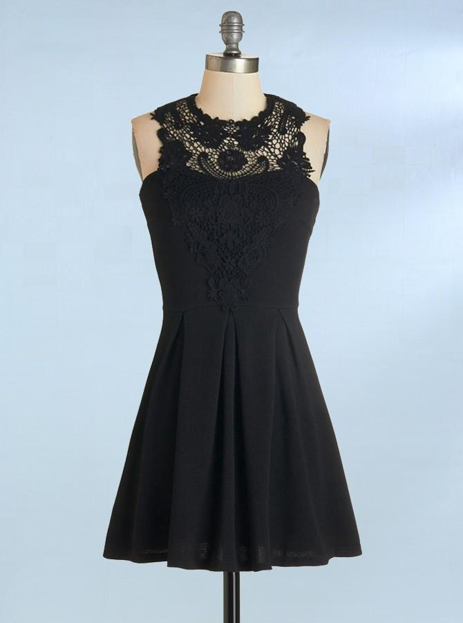 13b8e9bf33 Simple Black A Line Cocktail Dresses Sleeveless Affordable Homecoming  Dresses - EVERISA