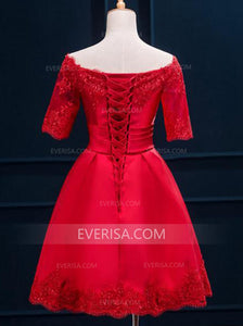 Fashion Short Sleeves A Line Homecoming Dresses Affordable Cocktail Dresses - EVERISA