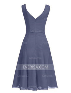 A Line Chiffon Bridesmaid Dresses Sleeveless Short Prom Dresses With Crystal Floral Pin - EVERISA