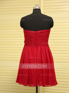Red Sweetheart Short Homecoming Dresses Affordable Cocktail Dresses With Flower