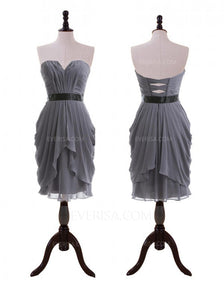 Grey A Line Bridesmaid Dresses Sleeveless Short Prom Dresses With Sash - EVERISA