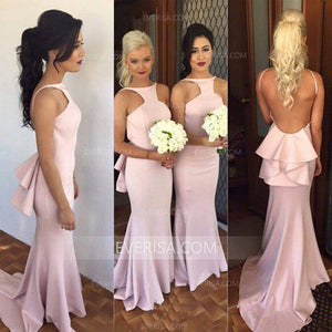 Sexy Pink Open Back Floor-Length Satin Bridesmaid Dresses Affordable Prom Dress