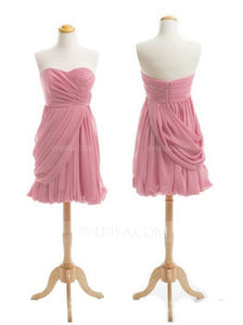 Pink Sleeveless Chiffon Bridesmaid Dresses Short Homecoming Dresses With Ruched - EVERISA