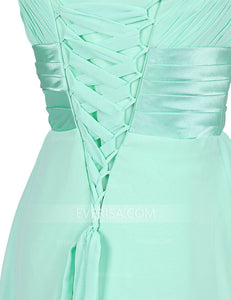Straps A Line Prom Dresses Sleeveless Cheap Bridesmaid Dresses With Bowknot