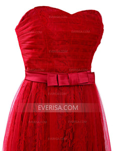Red Sleeveless Lace Bridesmaid Dresses Cheap A Line Prom Dresses - EVERISA