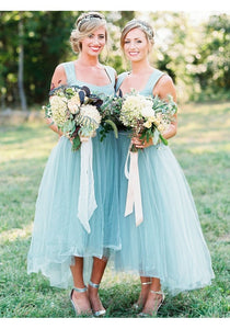 Fashion Sky Blue A-Line Empire Long Tulle Prom dresses Bridesmaides Dresses