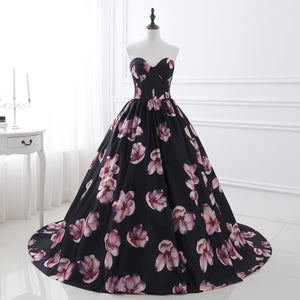 Sweetheart Sleeveless A Line Flower Satin Long Prom Dresses
