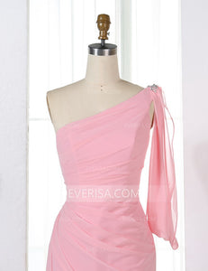 Pink One Shoulder Slim Line Bridesmaid Dresses Affordable Prom Dresses