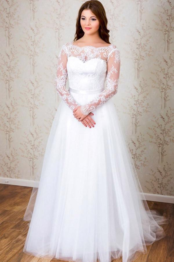 White Long Sleeves Open Back Tulle Wedding Dresses Lace Bridal