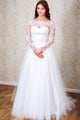 Charming White Long Sleeves Open Back Tulle Wedding Dresses Lace Bridal Gown - EVERISA