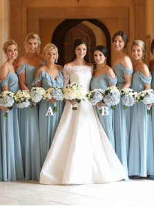 Blue Cold Shoulder A Line Bridesmaid Dresses Chiffon Long Prom Dresses With Ruffles - EVERISA