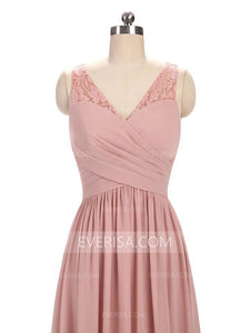Dusty Pink V Neck Sleeveless Cheap Bridesmaid Dresses Long Prom Dresses - EVERISA