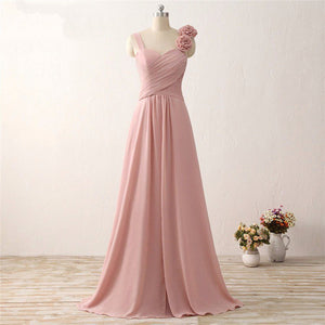 2018 Sweetheart Sleeveless Chiffon Prom Dresses Cheap Bridesmaid Dresses With Flowers - EVERISA